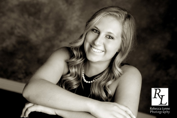High School Senior Portrait Classic Girl Pearls Black Dress