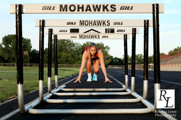 hurdles lined up high school senior portrait