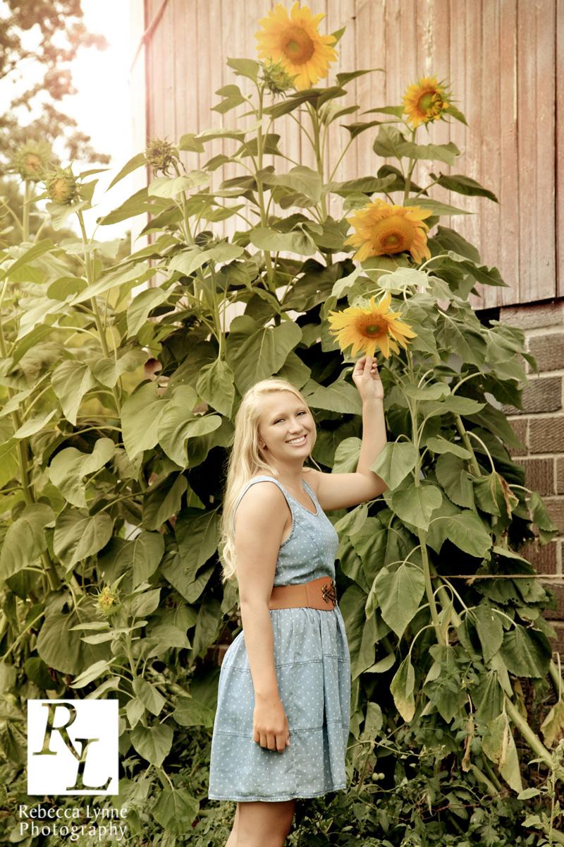 Senior girl high school portrait sunflowers country boots