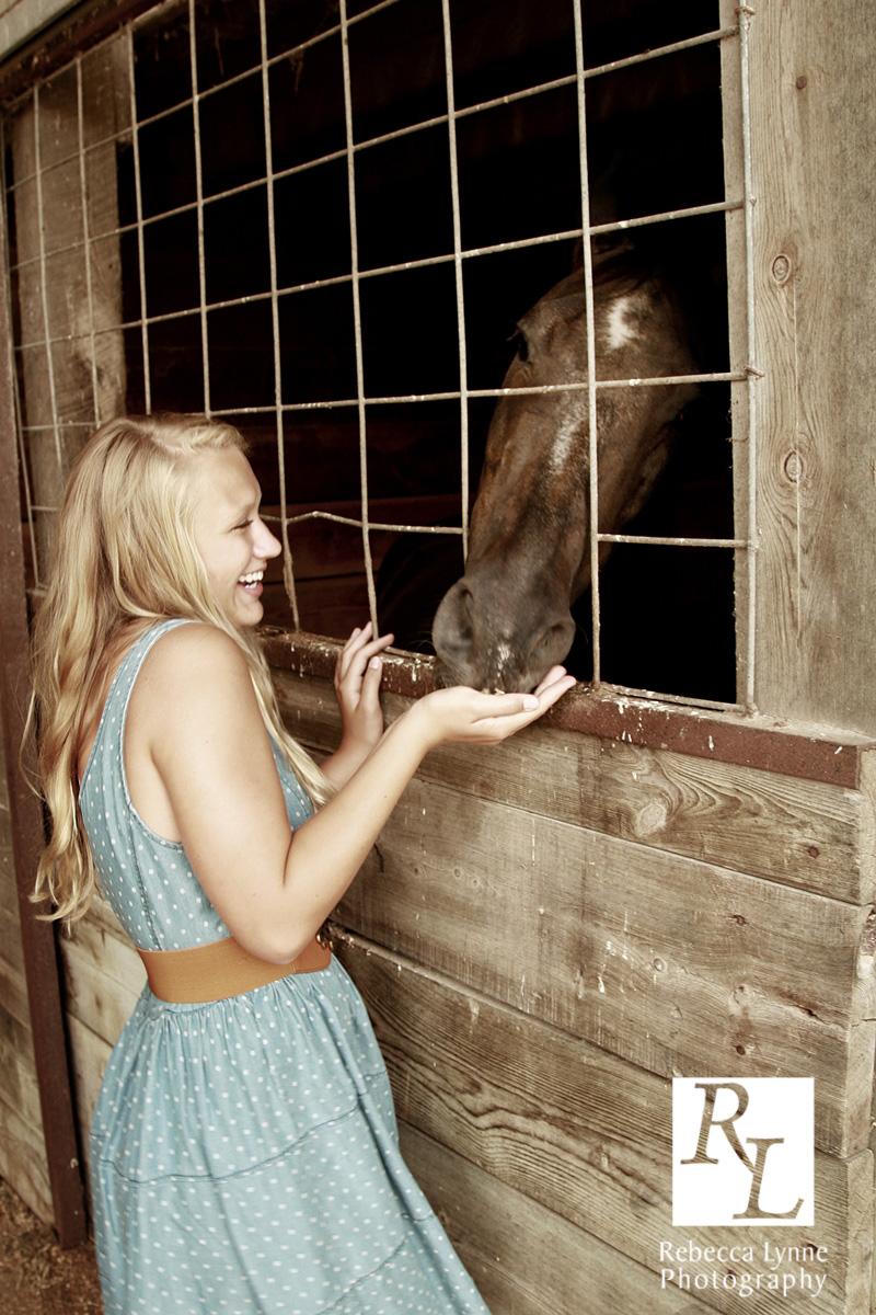 Senior girl high school portrait cowgirl boots dress horse