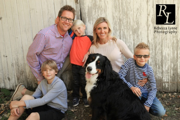 Big Family with three boys and dog