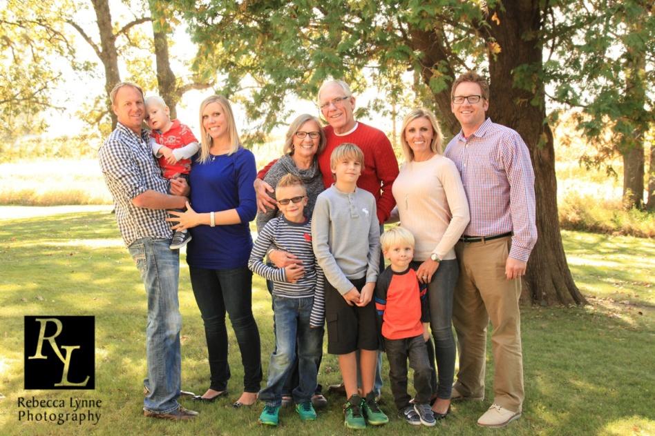 Large family group. Grandma & Grandpa, kids and grandkids