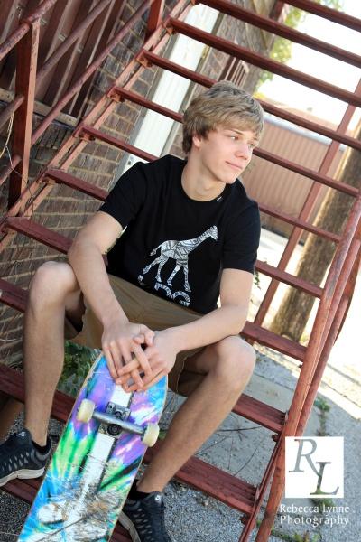 High School Senior Boy Portraits Skateboard
