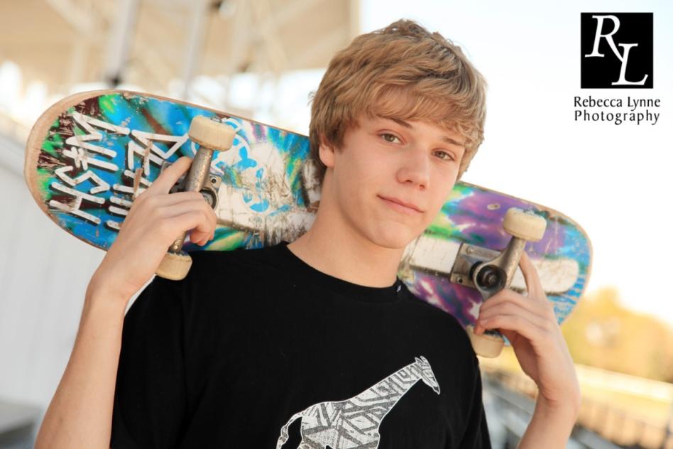 High School Senior Boy Portraits Skateboarder