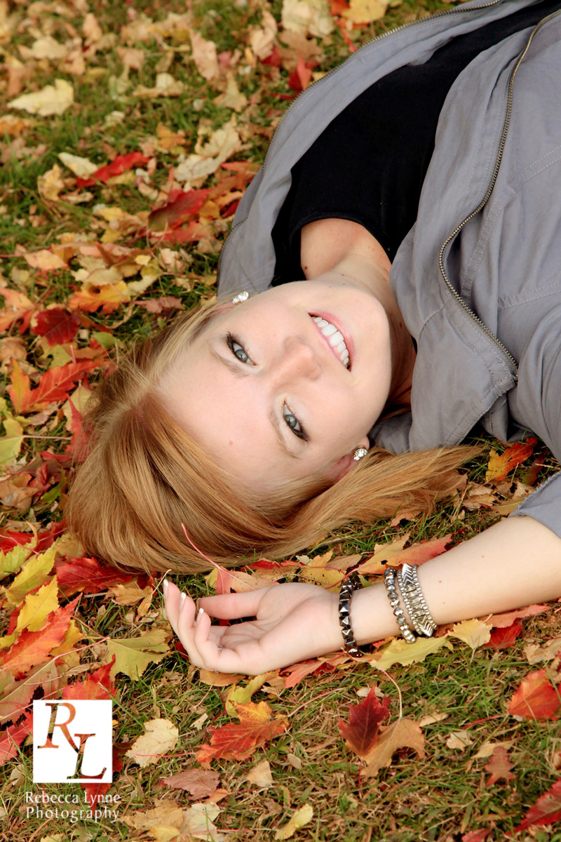 Fall Portrait Pretty Young Lady in Leaves