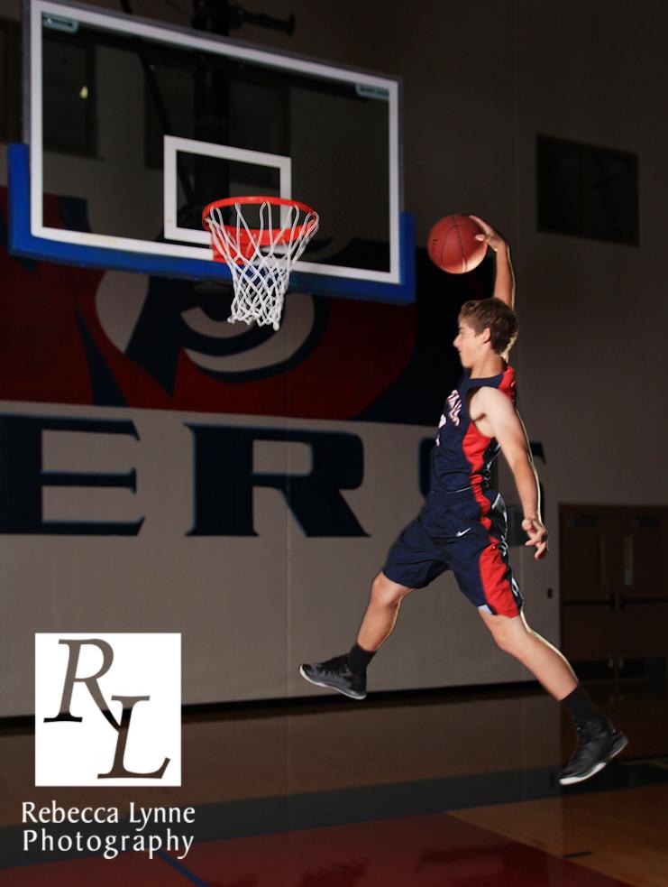 High School Senior Guy basketball slam dunk